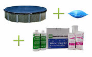 Blue 21' Round Above Ground Pool Cover + 4' X 8' Air Pillow + Winterizing Kit