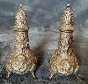 Vintage R F Polack Sterling Silver Repousse Salt And Pepper Shakers