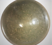 Antique Song Yaozhou Celadon Fishes Flowers Molded Fluted Conical Bowl 7-1/2