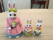 1988 Geo. Z. Lefton China Hand Painted Ceramic Rabbit Bank And 2 Small Bunny Fig