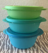 Tupperware Crystalwave Microwave Round Dishes Set Of 3 Blue 3 2 1/2 2 Cups New