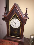 Rare Dolphin New Haven Antique Steeple Mantle Time Piece Alarm Clock