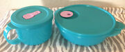 Tupperware Crystalwave Soup Mug And Round Microwavable Container Aqua W/ Purple