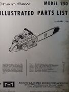 Mcculloch 250 Chain Saw Parts Manual Chainsaw Gasoline Engine 2-cycle 1963