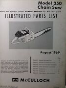 Mcculloch 250 Chain Saw Parts Manual Chainsaw Gasoline Engine 2-cycle 1969
