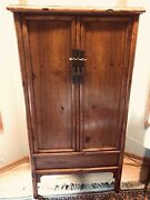 Antique 19th Century Chinese Elmwood Cabinet -- Mortise And Tenon Construction