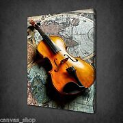 Classic Violin On World Map Music Wall Art Canvas Print Picture Ready To Hang