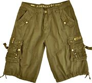Mens 100 Cotton Solid Color Cargo Shorts Size 32-42 12211s
