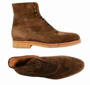 Kiton Napoli Brown Suede Wingtip Crepe Sole Military Boots Shoes Uk 10 New Us 11