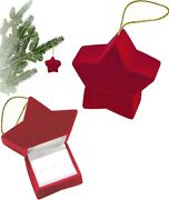 Red Velour Holiday Star Ornament Jewelry Gift Box Ring, Earrings, Pin Multi Use