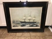 Original N. Currier And Ives Print Clipper Ship Red Jacket Large New/old 50