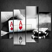 Pair Of Aces Cards Casino Chips Cascade Canvas Wall Art Print Ready To Hang