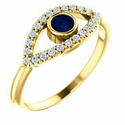 14k Yellow Gold Evil Eye Ring W/genuine Blue Sapphire And White Sapphires