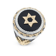 925 Sterling Silver And Gold Onyx Star Of David Palm Tree Ring