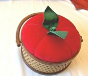 Vintage Tomato / Strawberry Sewing Box Basket Pincushion Lid Red Brown Wicker