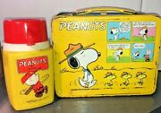 Vintage Peanuts 1965 Metal Lunchbox With Thermos