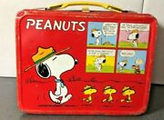 Vintage Peanuts Red Metal 1960s Lunchbox No Thermos