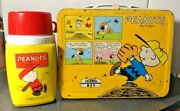 Peanuts Yellow Metal 1965 Lunchbox With Thermos