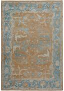 Vegetable Dye Brown/blue Oushak Turkish Area Rug Hand-knotted Antique Look 9x12