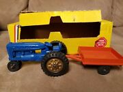 Hubley Vintage Tractor And Trailer Toy Gabriel Ind Blue With Box Mighty Metal