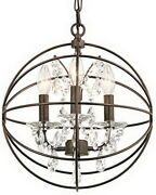 Coffee Copper Highlights Crystal Clear Glass Orb Pendant/chandelier 252
