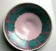 Handcrafted Art Robin Sterling Pottery 14 Bowl Cats Purple/blue Beautiful Vtg