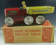 Marx 1950s Marx Giant Reversing Tractor Truck Windup Toy 14and039and039 Tin Mib Original