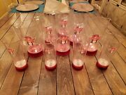 Extremely Rare Find 6 Budweiser Red Light Pitchers And 3 Pints Bar Set Lot