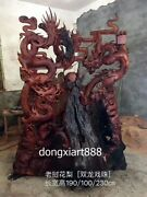 230 Cm Chinese Laos Rosewood Palisander Wood Double Dragon Play Bead Sculpture