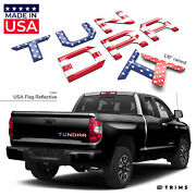 Usa Flag Reflective Domed Letters Inserts For Toyota Tundra 2014-2020 Tailgate