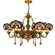 Victorian Style Chandelier Stained Glass Shade Ceiling Light Fixtures