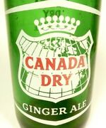 Vintage Acl Soda Pop Bottle Green Canada Dry W/ Embossed Letter Neck - 28 Oz