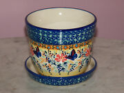 Polish Pottery Small Flower Pot With Saucer Unikat Signature Butterfly Summer