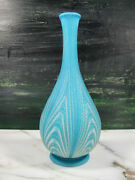 Antique Murano Satin Art Glass Feathered Bottle Vase Opaline Blue White And Gold