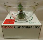 Spode Christmas Tree 9 Clear Glass Salad/fruit Serving Bowl W/gold Trim
