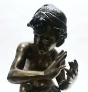 Emil Epple German Artist 1877- 1948 Bronze Nude Young Man With Shell