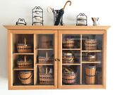 J.w. Collection Longaberger Display Cabinet With All 12 Mini Baskets And Pottery