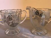 Vintage Sugar Bowl And Creamer Pitcher Clear Glass Silver Overlay Flowers And Rims