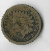 Rare Antique Us 1863 Civil War Indian Head Penny Collection Cent Coin Lotr40