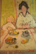 George Rene Sinicki Impressionist Painting Of A Mother And Girl At Table