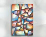 Painting,geometric, Mix Lang Original 'crystal Bloom'signed,certified, Art Deco