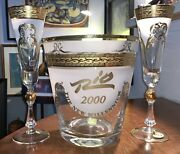 Rare Nice Bohemian Crystal Gold Trim Ice Bucket W/ 2 Matching Champagne Glasses