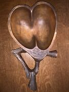 Heavy Antique Hand Carved Wooden Walnut Nut Bowl Early Used Well Taken Care Of.