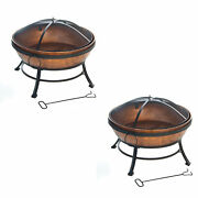 Deckmate 30371 Avondale Outdoor Patio Portable Steel Fire Pit Copper 2 Pack