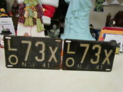 1941 New Jersey Matching Set Of Steel License Plates Lo 73x