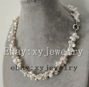 Cultured White Keshi Baroque Fresh Water Pearl 2 Row Twist Necklace 16-22 Inches