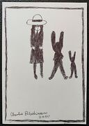 Charles Blackman Two Rabbits Original Signed Ink On Paper 30cm X 21cm