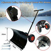 Heavy Duty Adjustable Rolling Snow Shovel Pusher With 10 Rubber Wheels 29x17