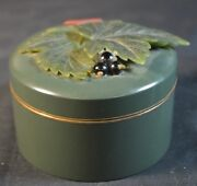 Vintage Russian Gilt .875 Silver And Nephrite Box With Leaves On Lid