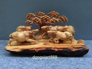 Chinese Thuja Sutchuenensis Wealth Fengshui Animal Five Ox Bull Wood Sculpture